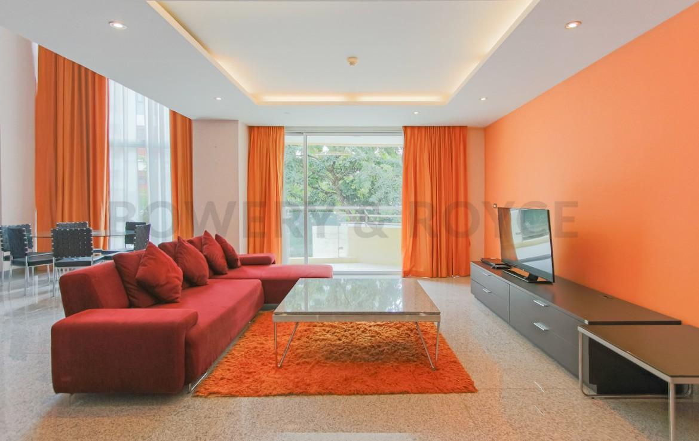 Large Two Bedroom Duplex For Rent in Phra Khanong-living-room-1